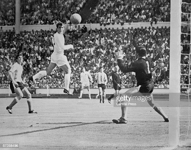 Geoff Hurst scores during England's World Cup quarter final against Argentina at Wembley 23rd July 1966 England won the match 10