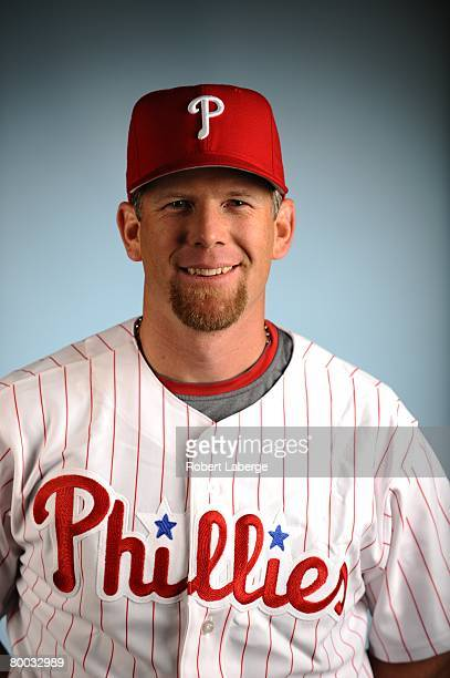 Geoff Jenkins of the Philadelphia Phillies poses for a portrait during the spring training photo day on February 21, 2008 at Bright House Field in...