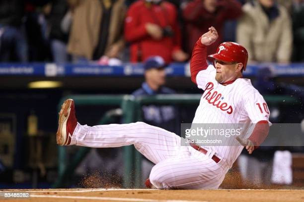 Geoff Jenkins of the Philadelphia Phillies scores on a RBI single by Jayson Werth in the bottom of the sixth inning against the Tampa Bay Rays during...