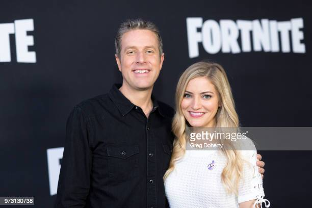 Geoff Keighley and Justine Ezarik AKA iJustine attends the Epic Games Hosts Fortnite Party Royale on June 12 2018 in Los Angeles California