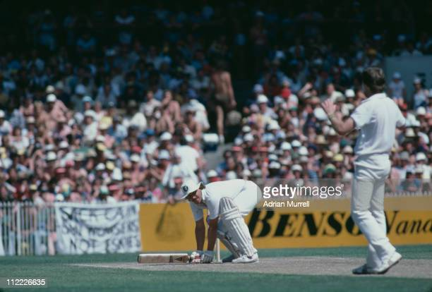 Geoff Lawson bowls Ian Botham a bouncing ball during the Ashes series in Melbourne January 1983