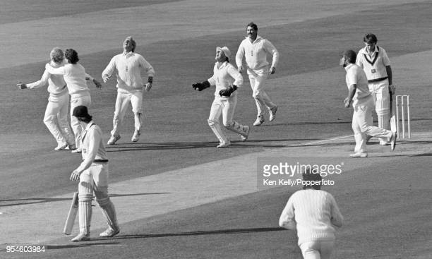 Geoff Lawson of Australia is caught for 3 runs by David Gower of England off the bowling of Phil Edmonds during the 5th Test match between England...