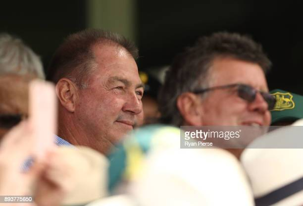 Geoff Marsh Former Australian Test Cricketer and father of Mitch Marsh of Australia celebrates after Mitch Marsh brought up his century during day...