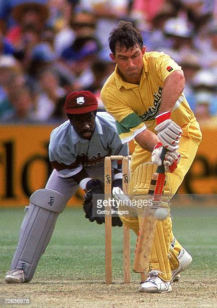 Geoff Marsh of Australia in action during the Benson Hedges World Series match between Australia and the West Indies at the Sydney Cricket Ground...