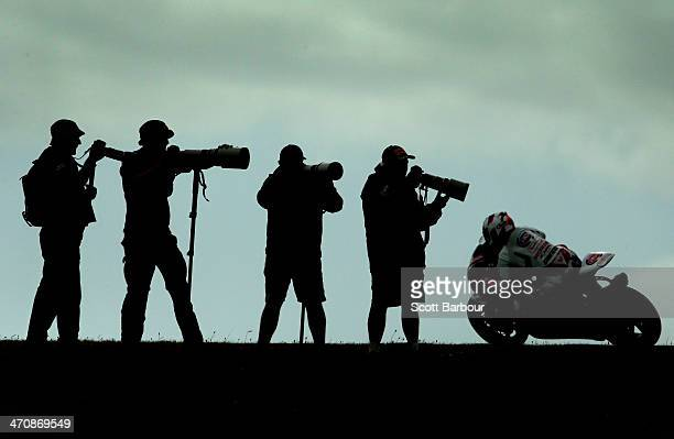Geoff May of the USA rides his Team Hero EBR as photographers take photographs during practice ahead of round one of the 2014 World Superbike...