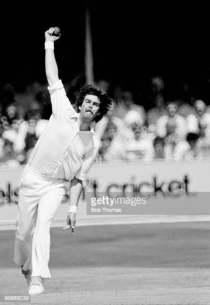 Geoff Miller bowling for England during the 3rd Test match between England and Australia at Trent Bridge in Nottingham 28th July 1977 England won by...