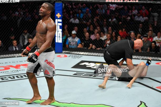Geoff Neal celebrates after defeating Niko Price in their welterweight bout during the UFC 240 event at Rogers Place on July 27 2019 in Edmonton...