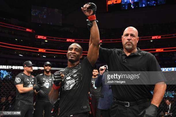 Geoff Neal celebrates his knockout victory over Frank Camacho of Guam in their welterweight fight during the UFC 228 event at American Airlines...