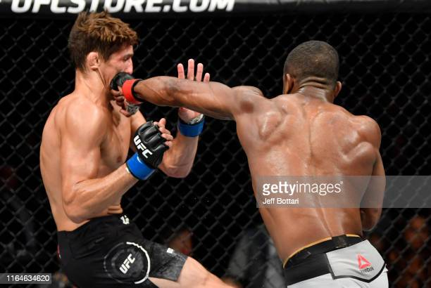 Geoff Neal punches Niko Price in their welterweight bout during the UFC 240 event at Rogers Place on July 27 2019 in Edmonton Alberta Canada