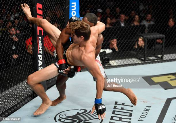 Geoff Neal takes down Niko Price in their welterweight bout during the UFC 240 event at Rogers Place on July 27 2019 in Edmonton Alberta Canada