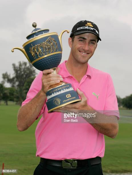 Geoff Ogilvy holds the the winner's trophy after the completion of the final round of the WGCCA Championship held on March 24 2008 on the Blue Course...