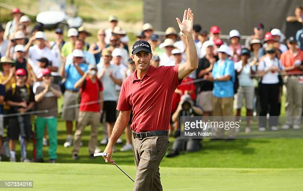 Geoff Ogilvy of Australia acknowledges the crowd after the winning the Australian Open during day four of the Australian Open at The Lakes Golf Club...