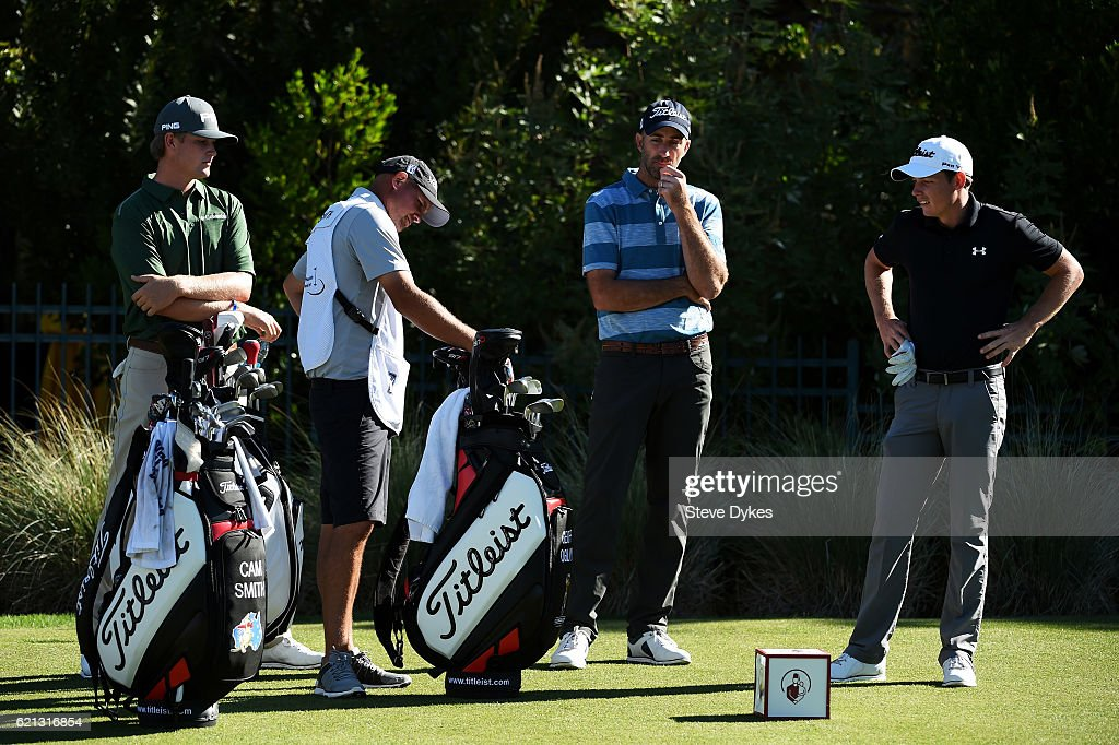 Geoff Ogilvy of Australia and Cameron Smith of Australia talk during the third round of the Shriners Hospitals For Children Open on November 5, 2016 in Las Vegas, Nevada.