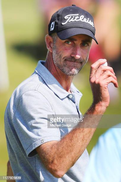 Geoff Ogilvy of Australia celebrates a birdie putt during Day one of the ISPS Handa Vic Open at 13th Beach Golf Club on February 07 2019 in Geelong...