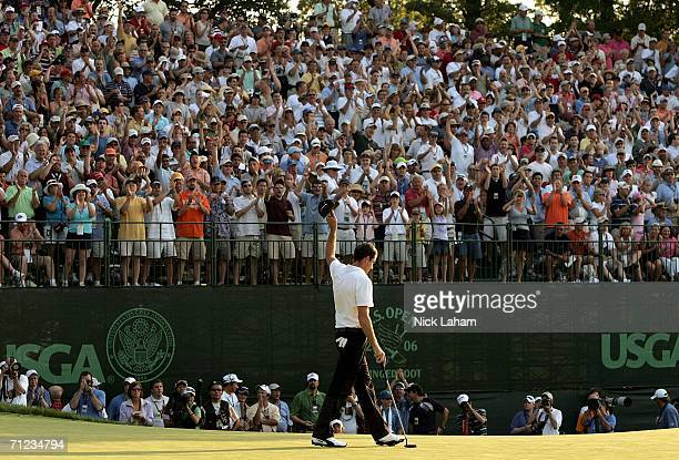 Geoff Ogilvy of Australia celebrates after saving par on the 18th hole during the final round of the 2006 US Open Championship at Winged Foot Golf...