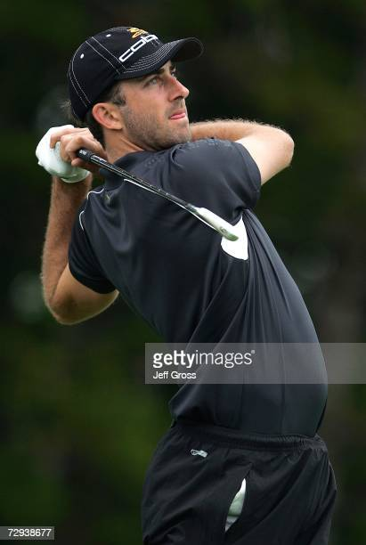 Geoff Ogilvy of Australia hits a tee shot on the second hole during the second round of the Mercedes Championship on January 5 2007 at the Plantation...