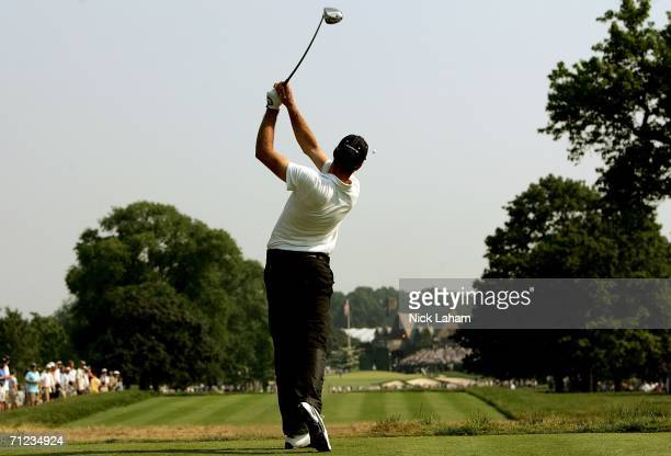 Geoff Ogilvy of Australia hits his tee shot on the ninth hole during the final round of the 2006 US Open Championship at Winged Foot Golf Club on...