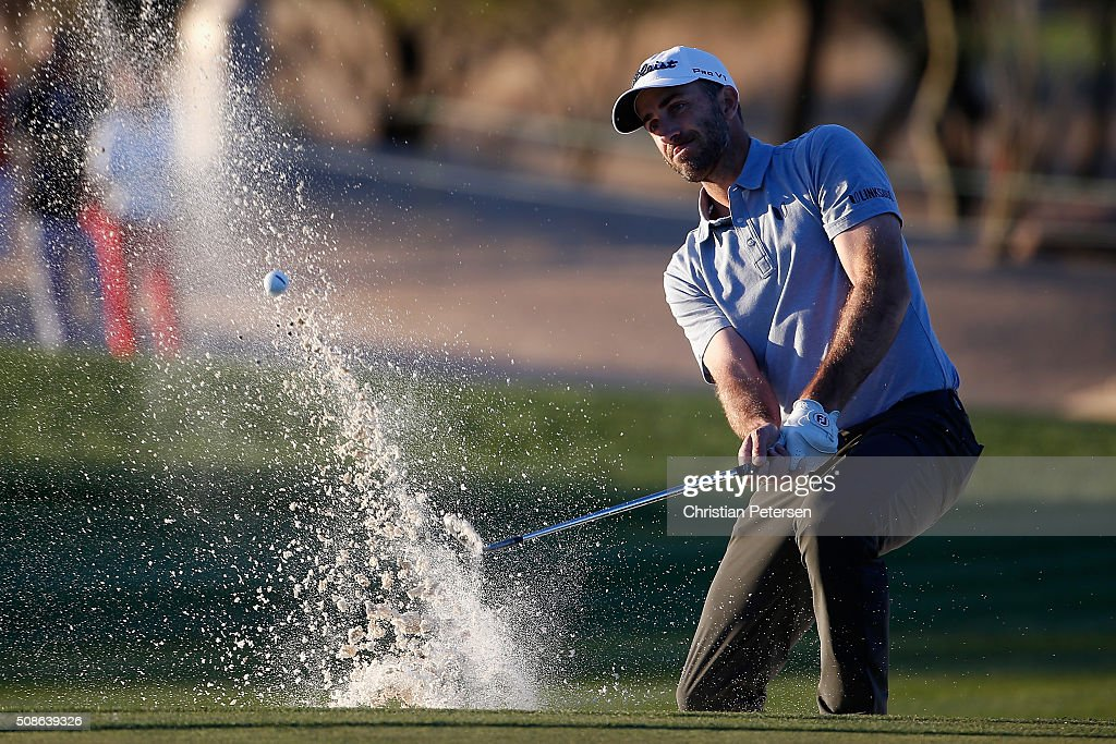Geoff Ogilvy of Australia hits out of the bunker on the ninth hole during the second round of the Waste Management Phoenix Open at TPC Scottsdale on February 5, 2016 in Scottsdale, Arizona.