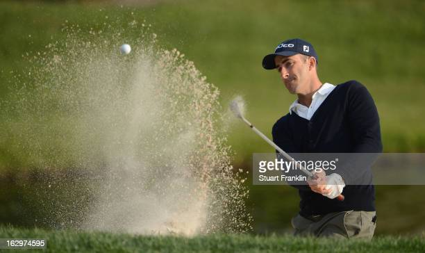 Geoff Ogilvy of Australia plays a bunker shot on the 16th hole during the third round of the Honda Classic on March 2, 2013 in Palm Beach Gardens,...