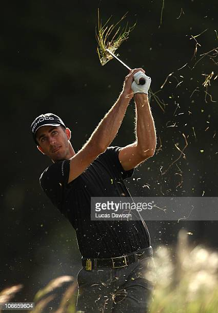Geoff Ogilvy of Australia plays a shot during the ProAm ahead of the Australian Masters at The Victoria Golf Club on November 10 2010 in Melbourne...