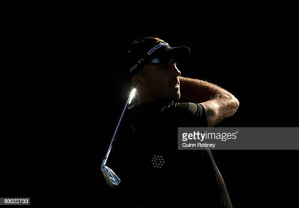 Geoff Ogilvy of Australia plays an approach shot on the 17th hole during round two of the 2009 Australian Masters at Kingston Heath Golf Club on...