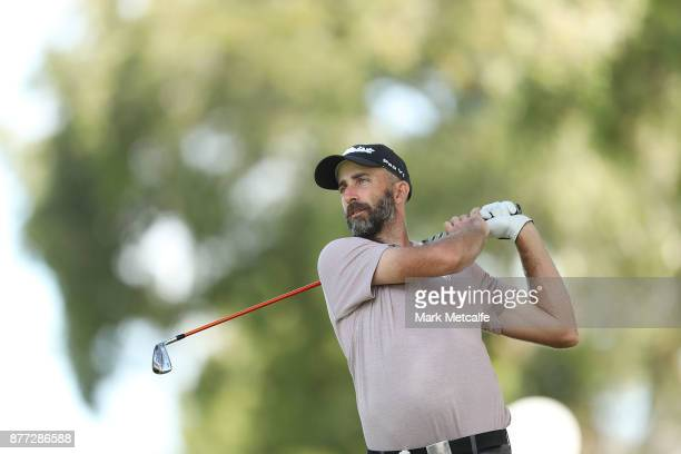 Geoff Ogilvy of Australia plays his second shot on the 4th hole during the ProAm ahead of the 2017 Australian Golf Open at The Australian Golf Club...