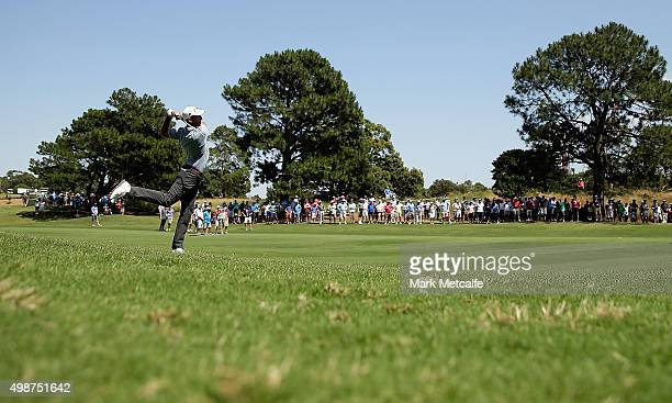 Geoff Ogilvy of Australia plays his second shot on the 5th hole during day one of the 2015 Australian Open at The Australian Golf Club on November 26...