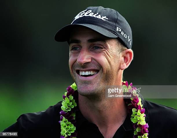 Geoff Ogilvy of Australia smiles after winning the SBS Championship at the Plantation course on January 10 2010 in Kapalua Maui Hawaii