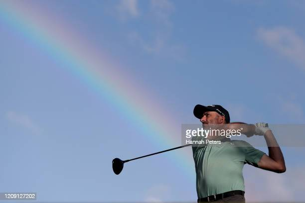 Geoff Ogilvy of Australia tees off during day two of the 2020 New Zealand Golf Open at The Hills on February 28, 2020 in Queenstown, New Zealand.