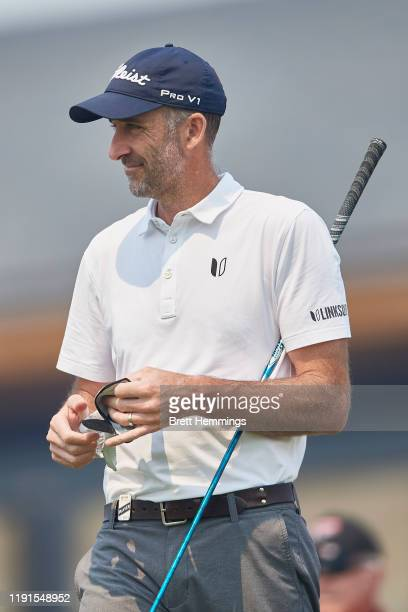 Geoff Ogilvy of Australia tee's off on the 1st hole during a practice round ahead of the 2019 Australian Golf Open at The Australian Golf Club on...