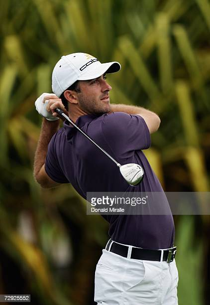 Geoff Ogilvy of Australia tees off the 1st hole during the first round of the Mercedes Championships on January 4 2007 at the Plantation Course in...