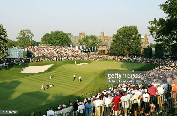 Geoff Ogilvy of Australia walks to the 18th green after chipping a shot en route to winning the 2006 US Open Championship by one stroke at Winged...