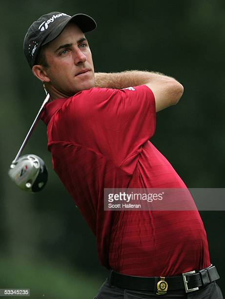 Geoff Ogilvy of Australia watches a tee shot during the second practice round of the 2005 PGA Championship at Baltusrol Golf Club on August 9, 2005...