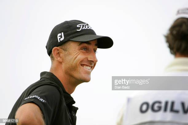 Geoff Ogilvy smiles on the 18th tee box during the final round of the SBS Championship at Plantation Course at Kapalua on January 10 2010 in Kapalua...