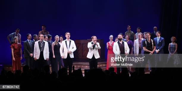 Geoff Packard James Nathan Hopkins Alex Bender Brandon J Ellis and Joe Carroll during the Broadway opening night curtain call bows of 'Bandstand' at...