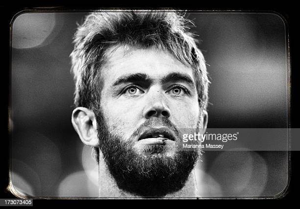 Geoff Parling looks into the crowd after winning during the International Test match between the Australian Wallabies and the British Irish Lions at...