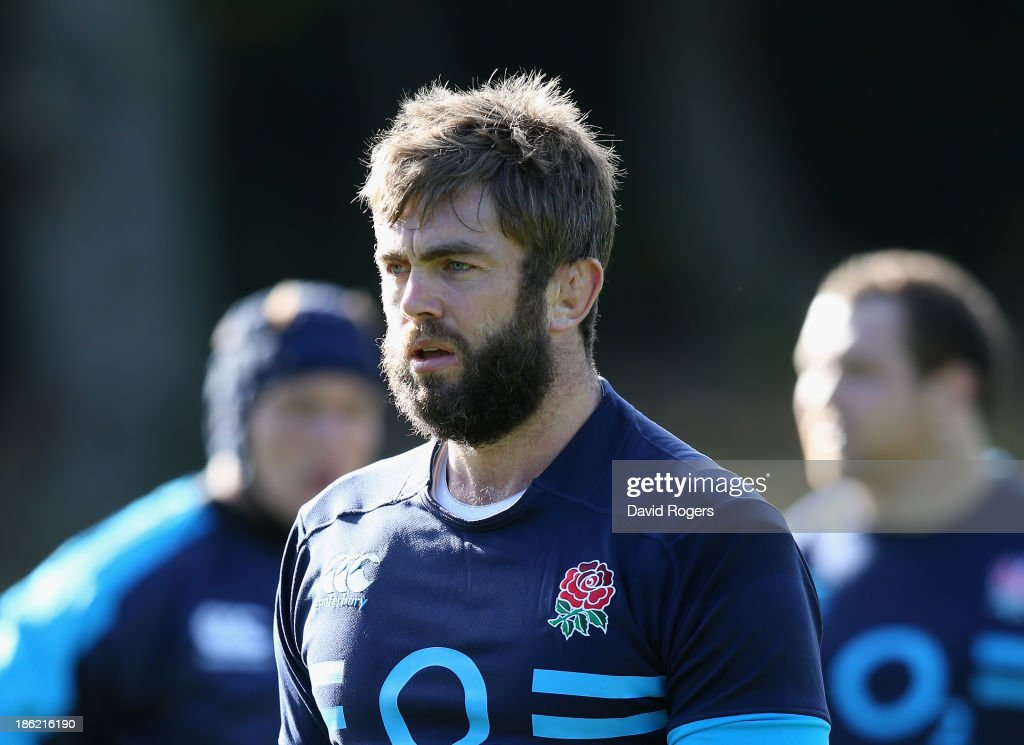 Geoff Parling looks on during the England training session held at Pennyhill Park on October 29, 2013 in Bagshot, England.