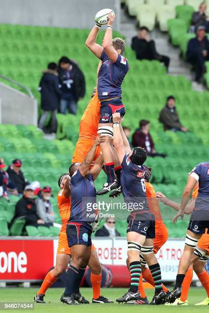 Geoff Parling of the Rebels catches the ball out of a line out during the round nine Super Rugby match between the Rebels and the Jaguares at AAMI...