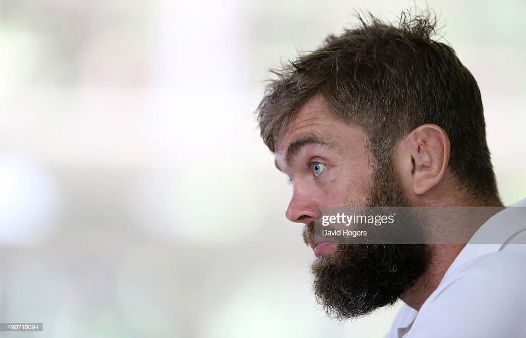 Geoff Parling, the England lock, faces the media during the England media session at Pennyhill Park on September 29, 2015 in Bagshot, England.