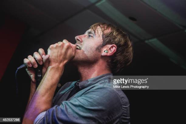 Geoff Rickly of Devotion performs on stage at Cardiff University on July 22, 2014 in Cardiff, United Kingdom.