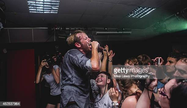 Geoff Rickly of No Devotion performs on stage at Cardiff University on July 22, 2014 in Cardiff, United Kingdom.