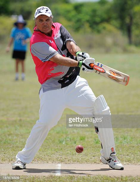 Geoff Ryder from the team 'Tuggers' plays a cut shot during the 2012 Goldfield Ashes cricket competition on January 22 2012 in Charters Towers...