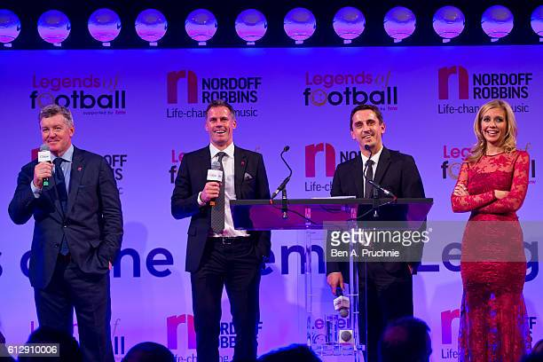 Geoff Shreeves Jamie Carragher Gary Neville and Rachel Riley speak during the 21st Legends of football event to celebrate 25 seasons of the Premier...