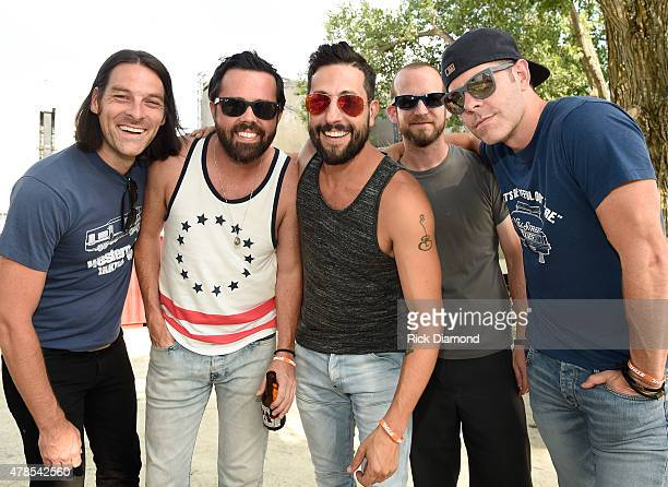 Geoff Sprung Brad Tursi Matthew Ramsey Whit Sellers and Trevor Rosen of Old Dominion backstage at Kicker Country Stampede Manhattan Kansas Day 1 on...