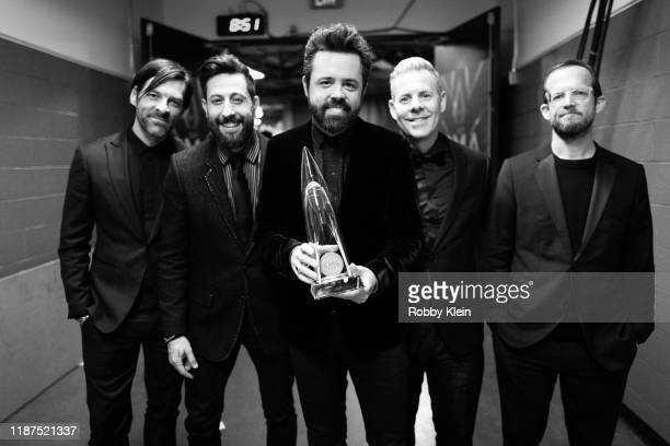 Geoff Sprung Matthew Ramsey Brad Tursi Trevor Rosen and Whit Sellers of Old Dominion backstage at the 53rd annual CMA Awards at the Bridgestone Arena...