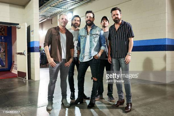 Geoff Sprung Trevor Rosen Matthew Ramsey Whit Sellers and Brad Tursi of Old Dominion attend day 4 of the 2019 CMA Music Festival at Nissan Stadium on...