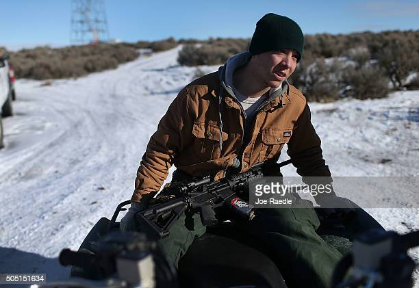 Geoff Stanek sits on an ATV as he joins other protesters at the Malheur National Wildlife Refuge on January 15 2016 near Burns Oregon Stanek is part...