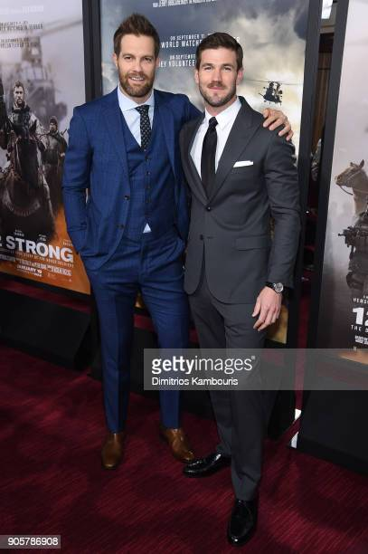 Geoff Stults and Austin Stowell attend the world premiere of '12 Strong' at Jazz at Lincoln Center on January 16 2018 in New York City
