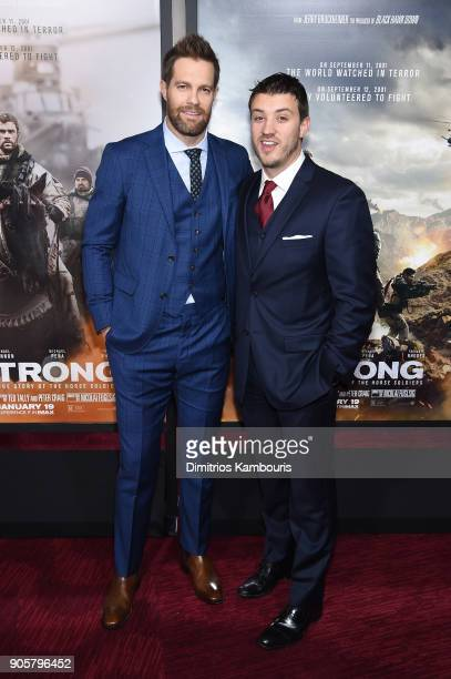 Geoff Stults and Kenneth Miller attend the world premiere of '12 Strong' at Jazz at Lincoln Center on January 16 2018 in New York City