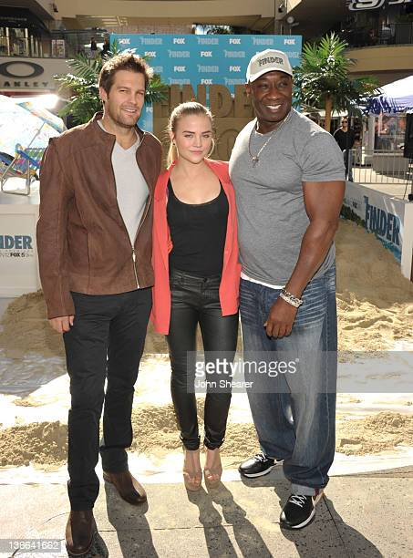Geoff Stults Maddie Hasson and Michael Clarke Duncan attend Fox's The Finder Challenge at Hollywood Highland Courtyard on January 9 2012 in Hollywood...